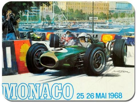 Monaco Grand Prix 1968 Mouse Mat. Motor Racing Vintage Poster Mouse pad.